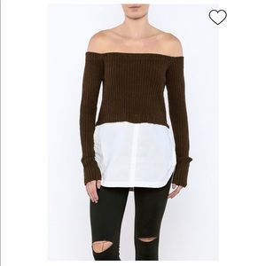 Olive off the shoulder sweater w/ white shirt hem